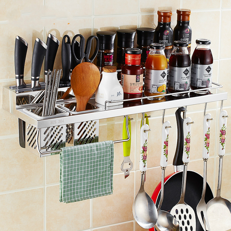 304 stainless steel kitchen storage rack wall hanging multifunctional wall home tool holder seasoning pendant Lu50716 stainless steel seasoning cans spoon assembly