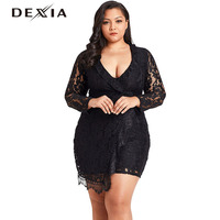DEXIA Sexy Lace Summer Dress Large Size Women V Neck Long Sleeve Hollow Out Plus Size