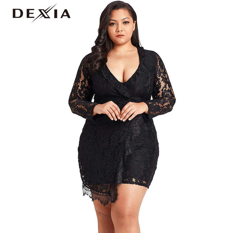 f3a1165dcf7 DEXIA Sexy Lace Summer Dress Large Size Women V Neck Long Sleeve Hollow Out  Plus Size