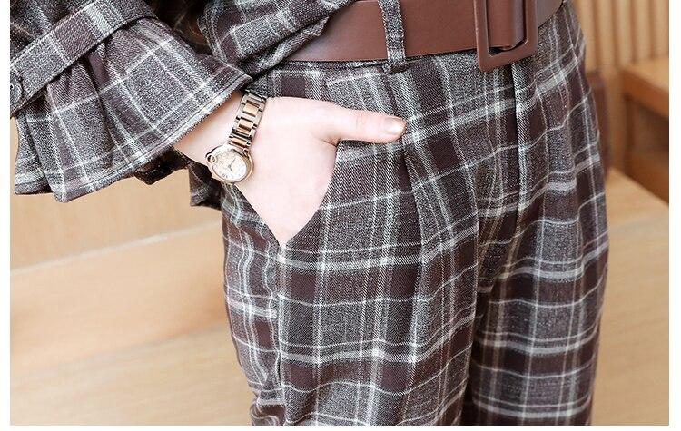 2019 Spring Plaid Two Piece Sets Women Peter Pan Collar Tops And Harem Pants Suits Sets Vintage Elegant Ladies Casual Women Set 44