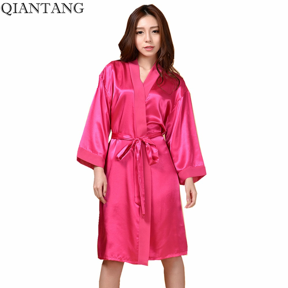 Plus Size Womens Robe Kimono Bath Gown Yukata Nightgown Lady Faux Silk Sleepwear Sleepshirts Pijama Mujer Hot Pink Ttg01