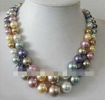 """2 แถว 8--14MM South Sea Multicolor shell pearl สร้อยคอ 17 """"18"""""""