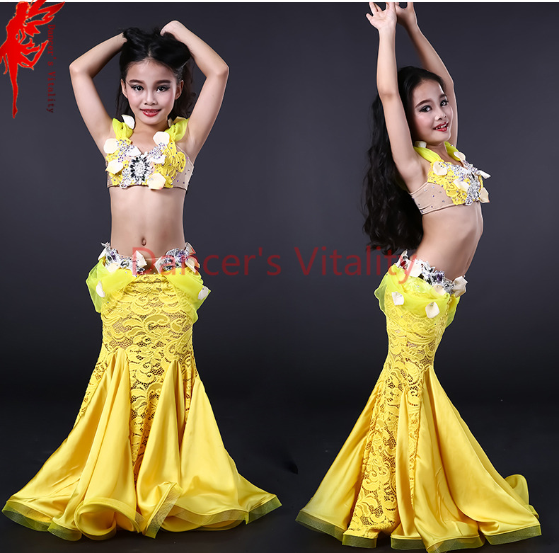 Girls Performance Clothes Girls Luxury Bra Top And Lace Skirt 2pcs Belly Dance Suit For Girls Belly Dancing Show Suits S M L