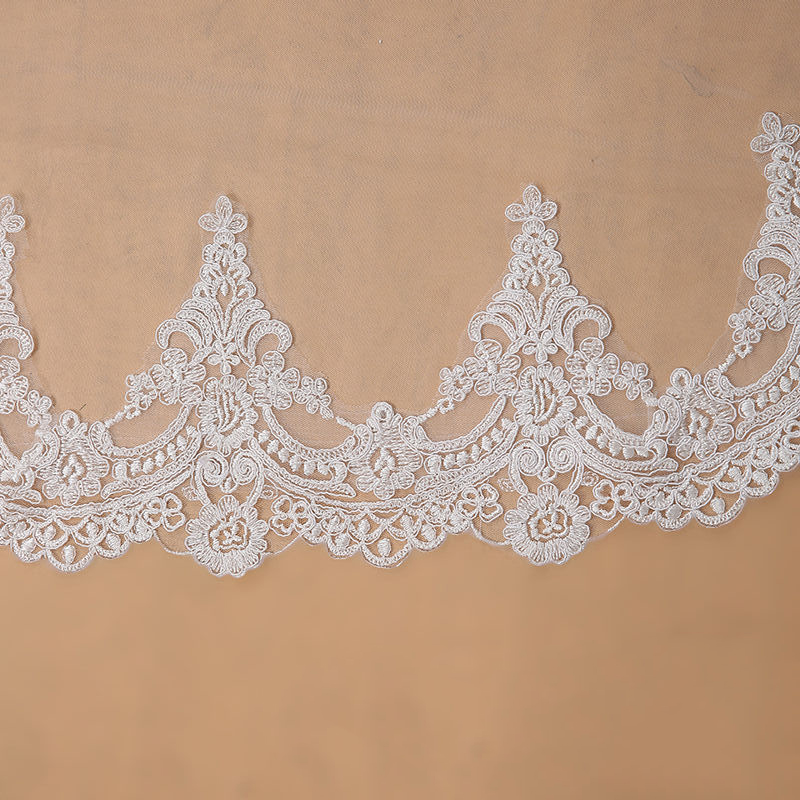 Top SaleBridal Veil Voile Lace-Edge Cathedral Veu-De-Noiva Ivory Long Mariage White One-Layer