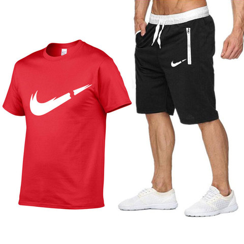 2019 New Brand Sets Summer Men Tees + Shorts Sets Summer Special Offer Comfortable Cotton Short Sleeve T-shirt Casual Style Set Karachi