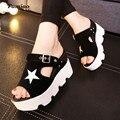Famiao 2017 nueva hebilla correa de Las Señoras de LA PU de Cuero de Moda de verano Gladiador Sandalias de Plataforma de Las Mujeres Zapatos de Las Cuñas de zapatillas mujer