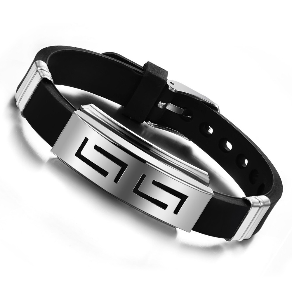 2016 New Fashion Jewelry Silicone Rubber Silver Slippy Hollow Strip Grain Stainless Steel Men Bracelet Bangle Wristbands