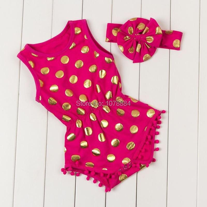 8bde27173242 Hot Pink   Gold Dots Pom Pom Romper Jumpsuit   Big Bow Headband Set ...