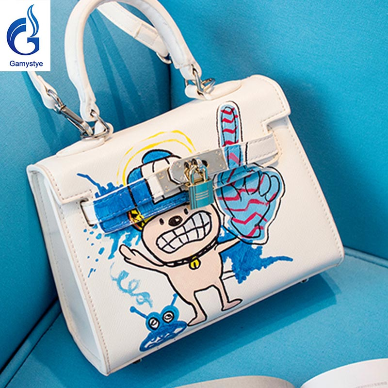 Z 2018 new Graffiti cartoon bags Genuine Leather women famous Messenger Bags Hand Painted Custom painting ladies totes handle Z 2018 new Graffiti cartoon bags Genuine Leather women famous Messenger Bags Hand Painted Custom painting ladies totes handle