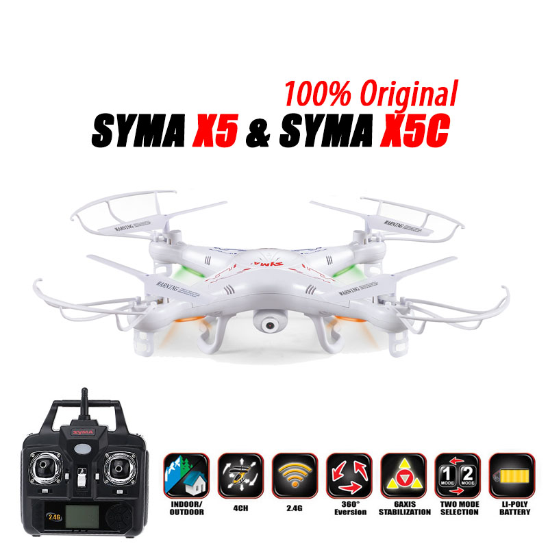 100% Original SYMA X5C (Upgrade Version) RC Drone 6-Axis Remote Control Helicopter Quadcopter With 2MP HD Camera or X5 No Camera original rc helicopter 2 4g 6ch 3d v966 rc drone power star quadcopter with gyro aircraft remote control helicopter toys for kid