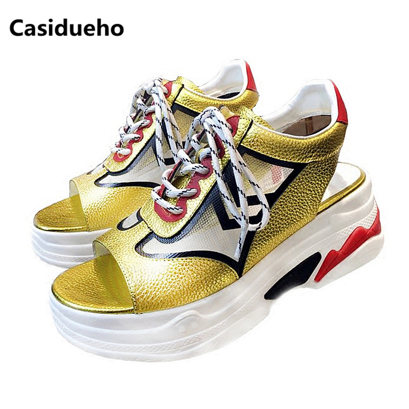 Casidueho Cut-outs Platform Shoes Woman Lace Up Leather Sandalias Mujer Mixed Color Gladiator Sandals Open Toe Wedges Shoes 40 dipsloot 2017 hot open toe lace up woman summer sandals fashion mixed color dress shoes woman wedges shoes lady sandals boots