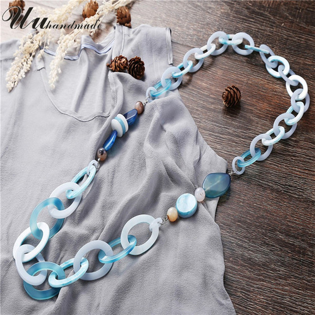 Collier Rushed Limited Collares Necklaces & Pendants 2016 Summer Fashion Long Necklace Acrylic And Agate Jewelry Bead Statement