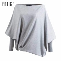 FATIKA 2017 New Fashion Women Sweaters And Pullovers Ladies Batwing Sleeve Slash Neck Knitted Sweaters Casual