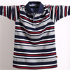 Мужская рубашка поло с длинными рукавами, большой размер, полосатая хлопковая рубашка поло со стоячим воротником, повседневный мужской топ с отворотом, рубашка с вышивкой, футболки 5XL