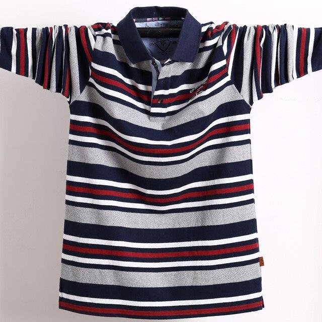 남자 긴 소매 폴로 셔츠 큰 크기 스트라이프 스탠드 칼라 코 튼 폴로 셔츠 캐주얼 망 옷깃 탑 셔츠 수 놓은 티 5XL