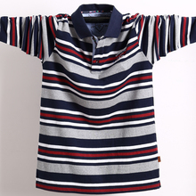 Mens Long Sleeved Polo Shirt Big Size Striped Stand Collar Cotton Polo Shirts Casual Mens Lapel Top Shirt Embroidered Tees 5XL