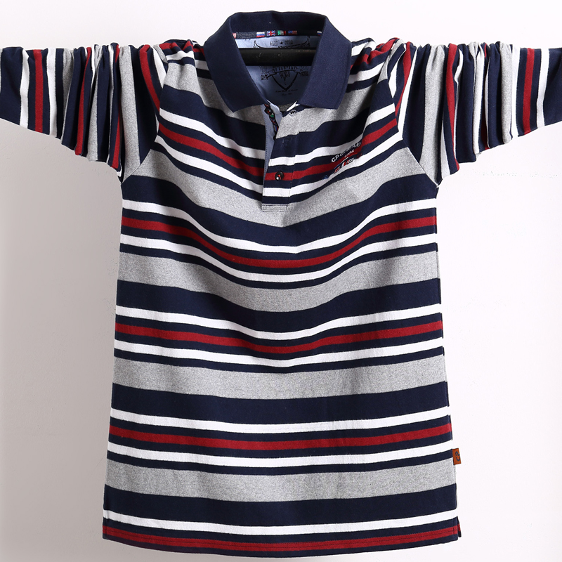 Mens Long Sleeved Polo Shirt Plus Size Striped Stand Collar Cotton