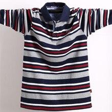 Polo de manga larga para hombre, polos de algodón con cuello levantado a rayas de talla grande, camiseta informal con solapa, camisetas bordadas 5XL