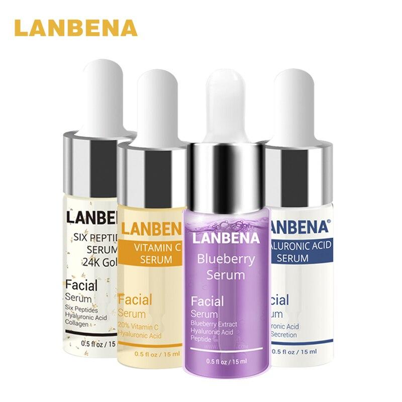 Lanbena mirtilo + ácido hialurônico + vitamina c + 24 k ouro seis peptides soro anti-envelhecimento manchas clareamento hidratante soro de cuidados com a pele
