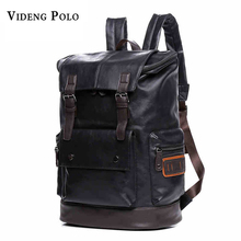 VIDENG POLO Simple Patchwork Large Capacity Mens Leather Backpack For Travel Casual Men Daypacks Leather Travel Backpack mochila