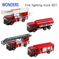 High Quality Alloy Simulation Fire Fighting Truck Sets Inertia Model For Children Play Game Save Safe