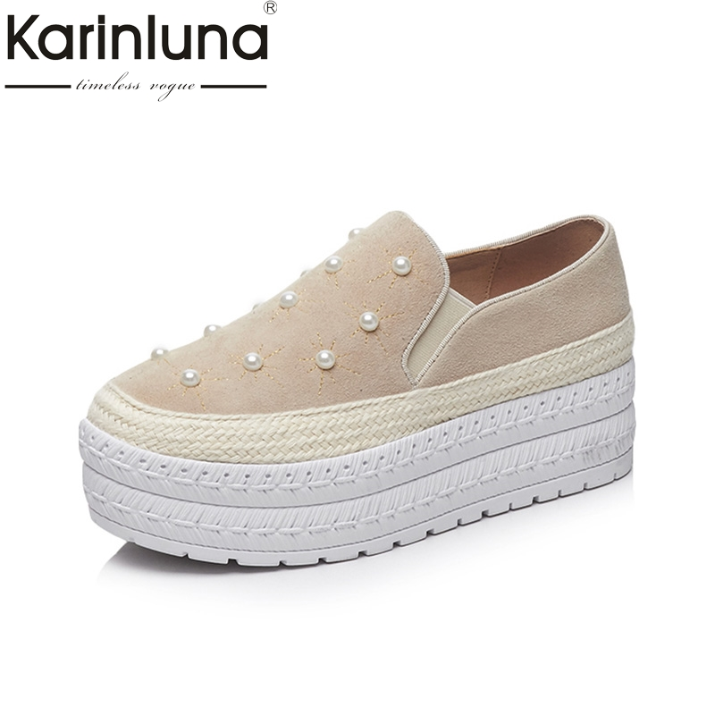 KARINLUNA Genuine Leather 2018 Fashion Size 34-39 Kid Suede Pearl Round Toe Shoes Woman Shoes Slip On Women Platform Flats round toe suede slip on plimsolls