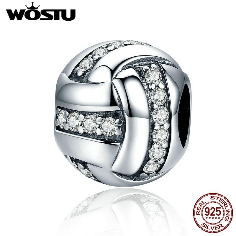 WOSTU Fashion New 925 Sterling Silver Glittering Ribbon Ball Shape Beads fit original WST Charm Bracelet Jewelry Gift FIC302