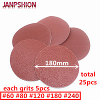 25pc Red Round Sandpaper Flocking Self Adhesive Sanding Paper For Sander Velcro 7 180mm Grits 60