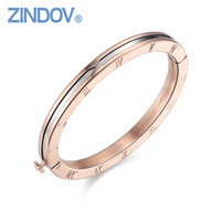 Popular Roman Numerals 316L Stainless Steel Rose Gold Women Bracelet Bangle Famous Brand Snap Button Jewelry