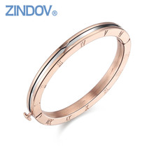 Popular Roman Numerals 316L Stainless Steel Rose Gold Women Bracelet Bangle Famous Brand Snap Button Jewelry High Quality bijoux