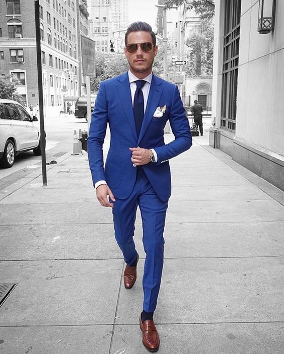 Italian Style Blue Groom Tuxedos Casual Man Suit Custom ...