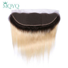 MQYQ Ombre Ear to Ear Lace Frontal Closure 13X4 Free Part With Baby Hair 1b/613 Blonde Russian Straight Human Hair Extensions(China)