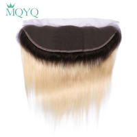 MQYQ Ombre Ear to Ear Lace Frontal Closure 13X4 Free Part With Baby Hair 1b/613 Blonde Russian Straight Human Hair Extensions