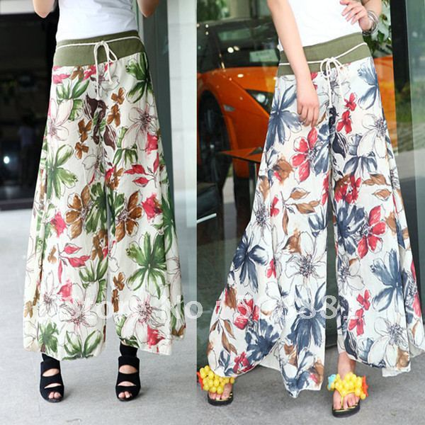 2015  wide leg pants Bohemian women's plus size chinese style bloomers flower floral print culottes women trousers/pant summer