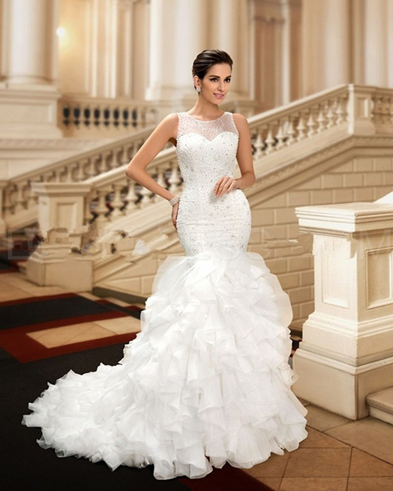 Glamorous Beaded Mermaid Scoop dreami Organza Cheap Wedding Dress ...