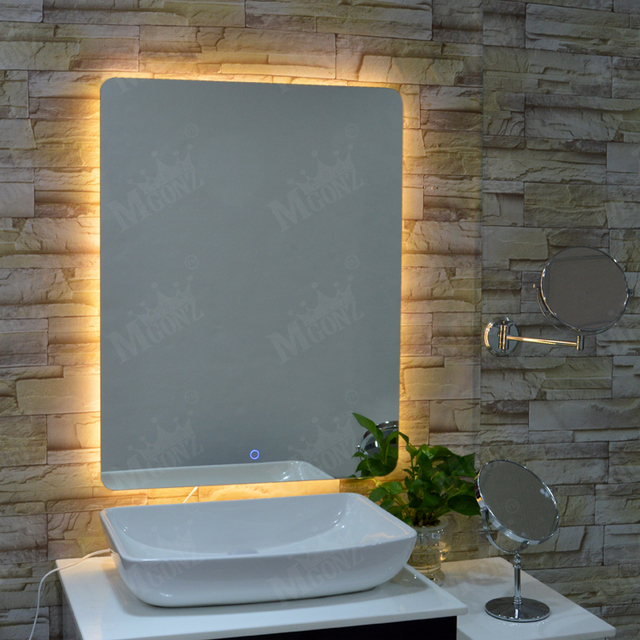 MGONZ Backlight Anti Fog Bathroom Mirror Rectangle Wall Dressing