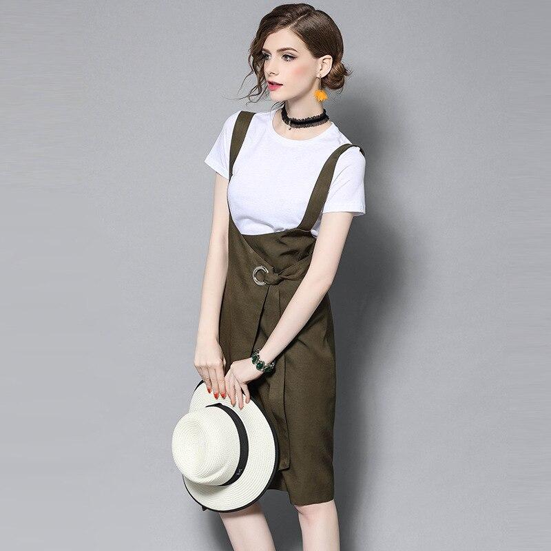 L G Spring Summer Designer Womans Clothing Set White T-shirt Black Camouflage Green Knee Length Strap Skirt Two Piece Set