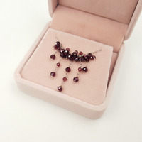 Lii Ji Garnet Beads 925 Sterling Silver Chokers Tassel Necklace Approx 41cm