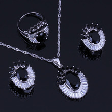 цены Sublime Flower Black Cubic Zirconia White CZ 925 Sterling Silver Jewelry Sets For Women Earrings Pendant Chain Ring V1002