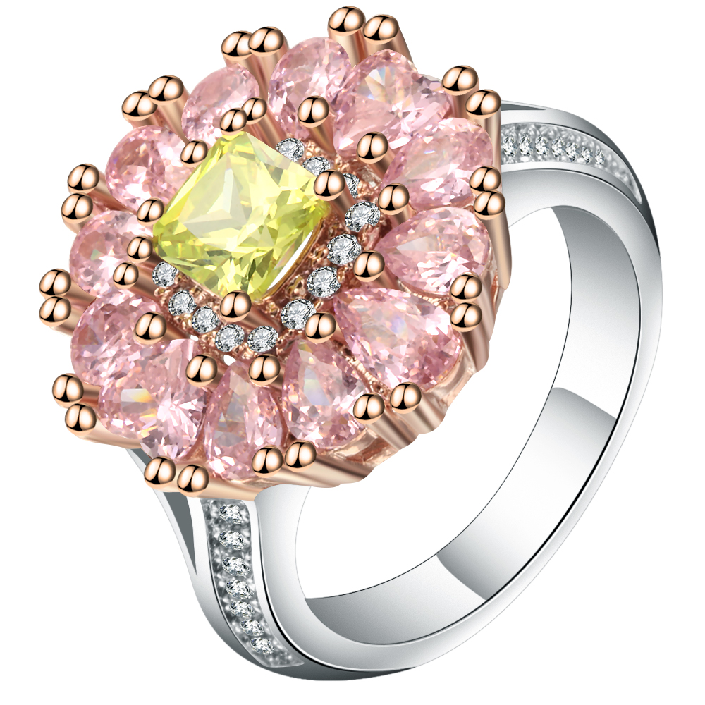 Luxury Pink Big Flower Female Rings For Wedding Engagement Party ...