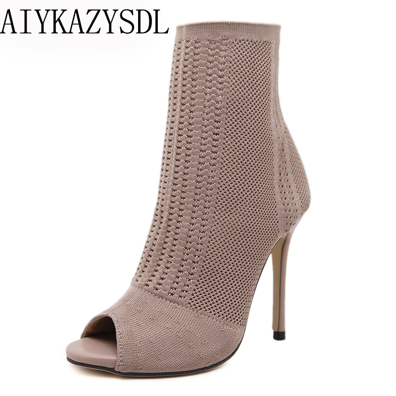 AIYKAZYSDL Women's Boots Elastic Knit Stretch Sock Boots Peep Toe Ankle Boots Cut Out Gladiator Shoes Stiletto High Heel Bootie peep toe stiletto heel hollow out boots