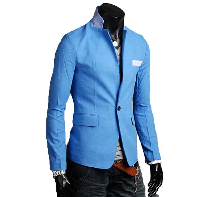 2016 hombres traje nuevo ocio de algodón color sólido delgado para el novio suprema a hebilla mens blazer diseños slim fit terno masculino tc072