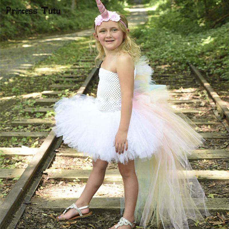 Rainbow Unicorn Girl Tutu Dress Children Kids Tulle Princess Dress Girls Costumes Long Train Tail Pony Birthday Party Dresses