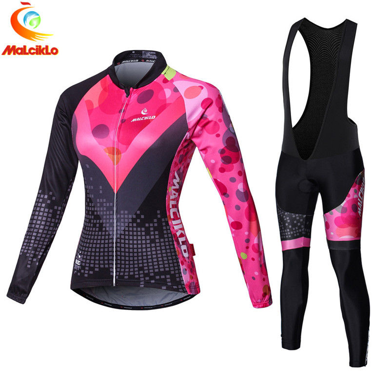 Malciklo 2018 Pink Summer Autumn Women Long Sleeve Cycling Jerseys Sets Breathable Bicycle Cycling Clothing Ropa Ciclismo Mujer-in Cycling Sets from Sports & Entertainment    1