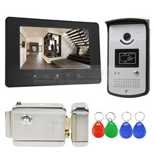 DIYSECUR 7 inch Wired Video Door Phone Doorbell Home Security Intercom System RFID Camera + Electric Lock