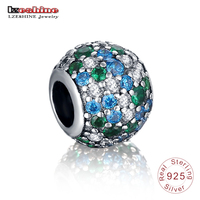 LZESHINE Dazzling Ocean Mosaic Pave Crystal Ball Charm 925 Sterling Silver Beads Fit Original Bracelets Fine