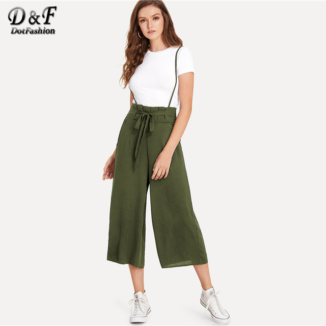 ed9f578db39 Dotfashion Knot Front Pleated Back Jumpsuit 2019 Spring Straps Sleeveless  Pants Women Mid Waist Wide Leg Plain Casual Jumpsuit