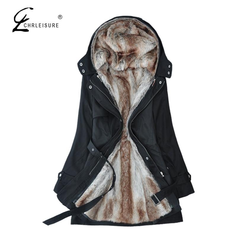 CHRLEISURE Winter Jacket Women Parka Coa