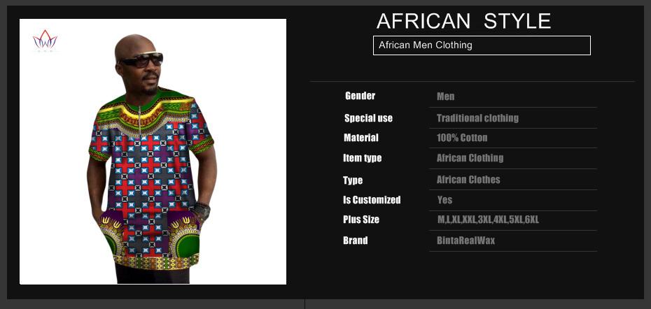 Mens African Clothing African Print Wax Dashiki Men t Shirt Plus ... ad64345abe84