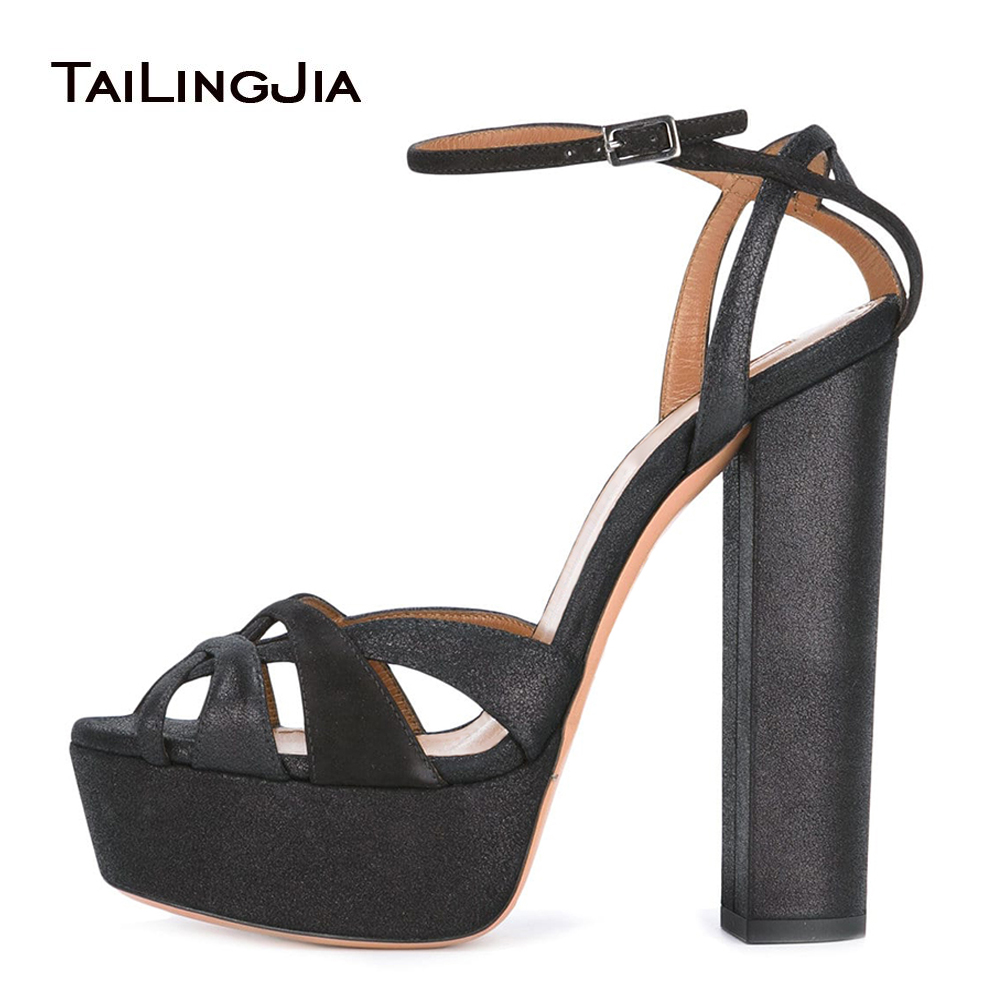 ac7c31c6552 US $59.99 |Black Platforms for Women Strappy Sandals Peep Toe Chunky Heel  Evening Dress Heels Ladies Summer Shoes Plus Size 2018-in High Heels from  ...